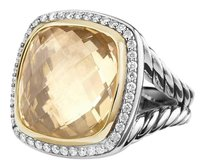 David Yurman Albion Ring with Champagne Citrine and Diamonds with 18k Gold