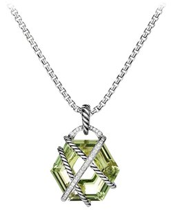 David Yurman Cable Wrap Necklace with Prasiolite and Diamonds (Chain included)