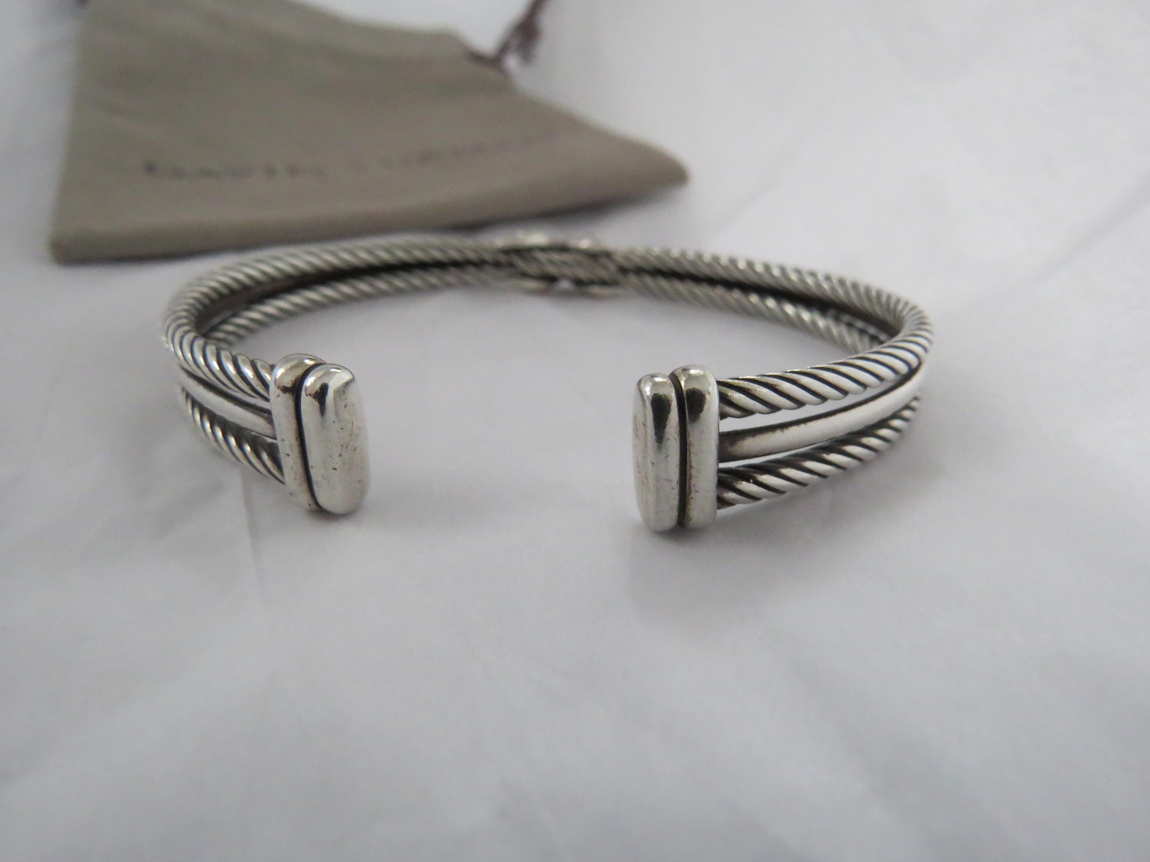 "David Yurman Silver White Crossover Collection Pave Diamond ""X"