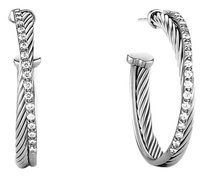David Yurman Crossover Medium Hoop Earrings with Diamonds