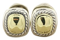 David Yurman DAVID YURMAN 14K YELLOW GOLD 925 STERLING SILVER DOME ALBION STUD CUSHION CABLE EARRINGS