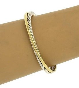 David Yurman David Yurman 14kt Ygold 925 Silver Cable Wire Double Style Bangle