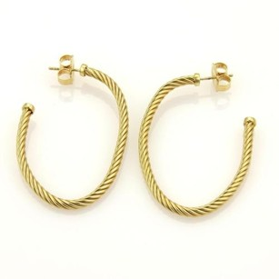 David Yurman David Yurman 18k Yellow Gold Long Cable Style Oval Semi Hoop Earrings