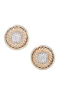 David Yurman David Yurman 18k Yellow Gold Pave Diamond Round Earrings