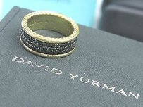 David Yurman David Yurman 18kt 3-row Black Diamond Pave Yellow Gold Band Ring