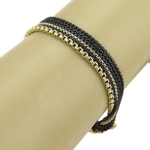 David Yurman David Yurman Black Diamonds 925 Silver 18k Ygold Multi-chain Bracelet
