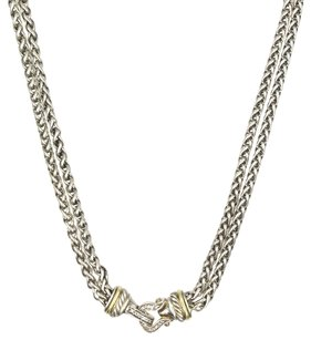 David Yurman David Yurman Diamond Buckle Double Wheat Chain Necklace 18KYG/SS