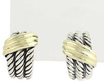David Yurman David Yurman Cable Shrimp Hoop Earrings - Sterling Silver 14k Gold Pierced