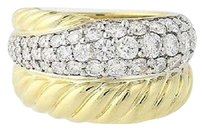 David Yurman David Yurman Diamond Crossover Ring - 18k Yellow White Gold 1.71ctw