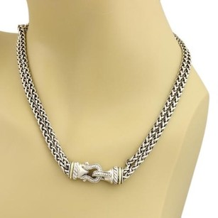 David Yurman David Yurman Diamond 18k Gold Silver Buckle Woven Necklace