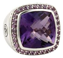 David Yurman David Yurman 11.10ct Amethyst Sterling Silver Square Top Cable Ring