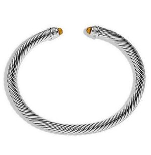 David Yurman David Yurman Silver Classic Cable Citrine & Diamonds 5mm Bracelet