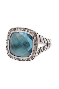 David Yurman David Yurman Sterling Silver 11mm Blue Topaz Diamond Albion Ring Size 7