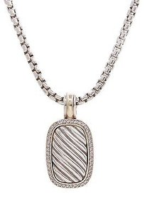 David Yurman David Yurman Sterling Silver 18k Gold Diamond Sculpted Cable Necklace