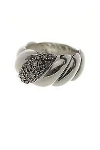David Yurman David Yurman Sterling Silver Diamond Sculpted Cable Wide Ring Size 8