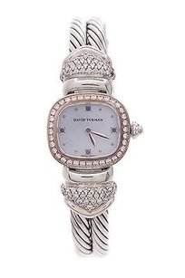 David Yurman David Yurman Sterling Silver Diamond Sapphire Cable Bangle Watch