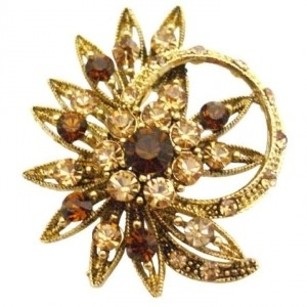 Golden Brown Decorated Ring Shaped Flower Smoked Topaz Colorado Crystals Brooch/Pin