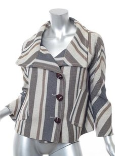 Derek Lam Womens Beigenavy Striped Cropped Oversized Swing Coat Multi-Color Jacket