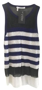 Derek Lam Striped Summer Basic Top Purple, Black, White