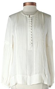 Derek Lam Silk Button Front Pleated Ruffle Top Ivory