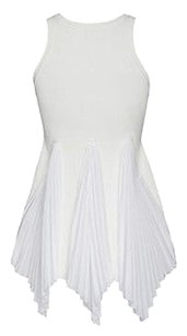 Derek Lam Crosby Knit Sleeveless Pleated Bottom Tank Pxs Top White