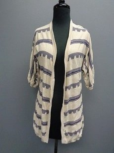 Design History Tan Striped Open Front Knit Cardigan Sma6570 Sweater