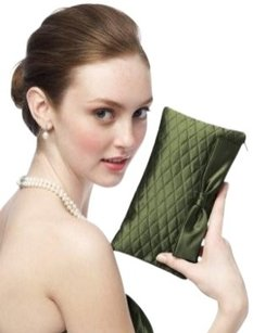 Dessy Quilted Green Clutch