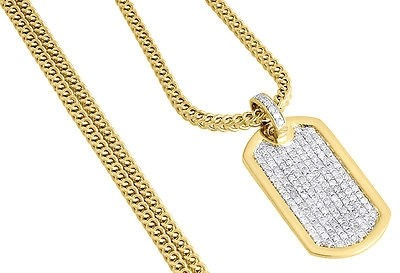 Diamond Mini Dog Tag Pendant Mens 10k Yellow Gold Charm W Franco