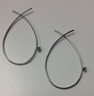 Diamonique Diamonique Sterling Silver Clear Stone Accented Wire Hoop Earrings B3290