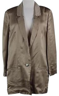 Diane von Furstenberg Diane Von Furstenberg Womens Tan Solid Blazer Long Sleeve Polyester Blend
