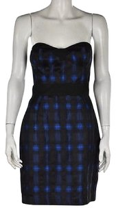 Diane von Furstenberg Womens Black Printed Metallic Casual Sheath Dress