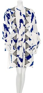 Diane von Furstenberg short dress Ivory, cobalt blue and black Silk on Tradesy