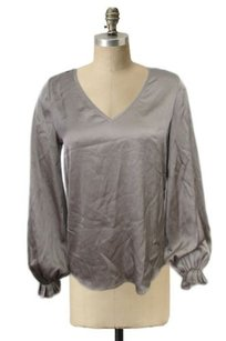 Diane von Furstenberg Silk V Neck Pleated Sleeves Cuffs Top stone