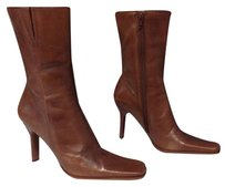 Diba Leather Square Toe Side Zip Stacked Heel Ankle B3596 Brown Boots