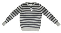 Diesel Boys Striped Knit Long Sleeve Sweater, Sz 10 yrs, Gray/Black