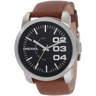 Diesel Diesel Dz1513 Black Dial Tan Leather Strap Analog Mens Watch Box Included