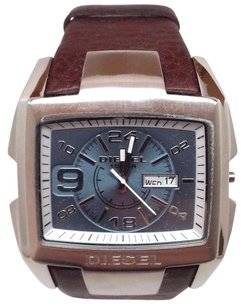 Diesel Diesel Dz4246 Silver Case Blue Dial Brown Leather Strap Mens Watch