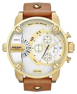Diesel Diesel DZ7288 Men's Little Daddy Gold Tone Brown Leather Chronograph Watch