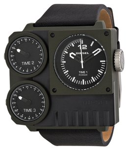 Diesel Diesel Super Bad Triple Time Zone Black and Green PVD Mens Watch