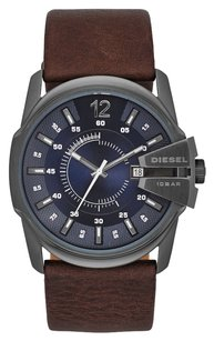 Diesel Master Chief Blue Dial Brown Leather Men's Watch