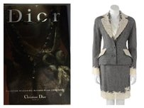 Dior 1998-1999 Christian Dior Suit Jacket Blazer Gray Tweed White Lace.france Us4