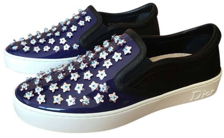 Dior Blue Happy Collection Flower Slip On Sneaker Sz. 37 Euro Sneakers Size US 7