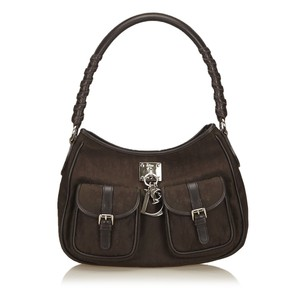 Dior Brown Fabric Leather 6hdrsh032 Shoulder Bag