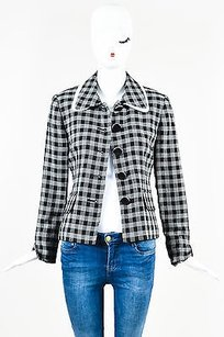 Dior Christian Dior Black And White Knit Structured Plaid Patterned Blazer