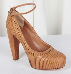 Dior Christian Womens Tan Leather Ostrich Woven Brown Pumps
