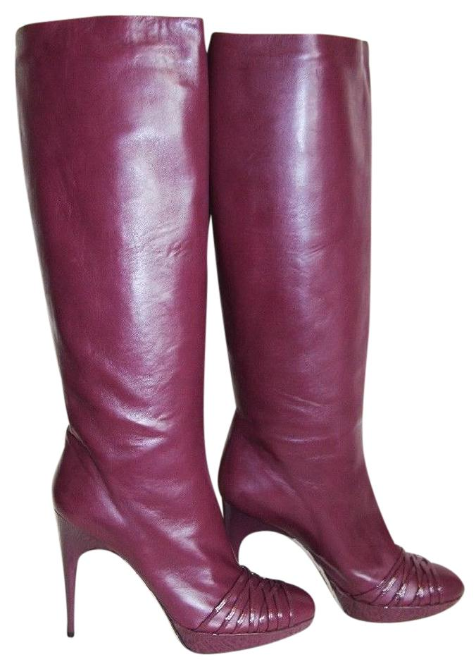 Dior Dark Burgundy Leather Karenina Slouch Pull 11 Boots/Booties Size EU 41 (Approx. US 11) Regular (M, B)