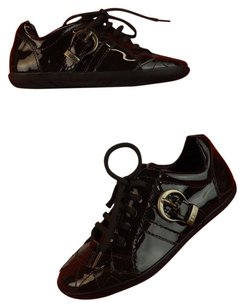 Dior GIRLS CHOCOLATE PATENT LEATHER CANNAGE LACE UP SNEAKERS 32 1