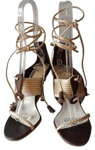 Dior Gold Ankle Ties Leather Brown/Gold Sandals