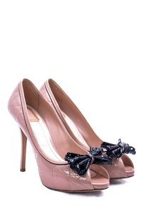Dior Hidden Platform Peep Toe Patent Leather Blush Pink Pumps