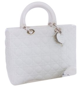 Dior Leather Quilted Limited Edition Monogram Silver Hardware Tote in White